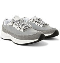 A.P.C. Jay Reflective Panelled Suede Sneakers Dark Gray
