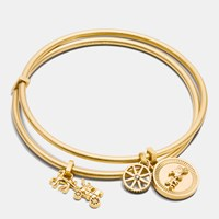 Coach Horse And Carriage Coin Bangle Set Gold