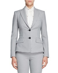 Alexander Mcqueen Houndstooth Peplum Two Button Jacket Black White Black White