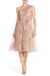Women's Jenny Yoo 'Maia' Print Tulle Convertible Tea Length Fit And Flare Dress Blush Multi