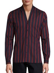 The Kooples Shades Of Red Regular Shirt Navy