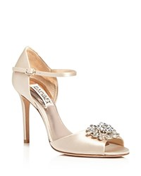 Badgley Mischka Bandera Embellished Ankle Strap High Heel Sandals Nude