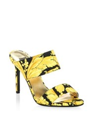 Versace Printed Leather Mules Black Gold