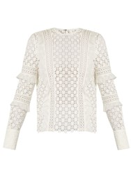 Self Portrait Ruffled Sleeve Daisy Lace Top White