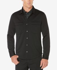 Perry Ellis Men's Avalon Knit Shirt Jacket Black