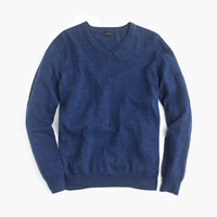 J.Crew Textured Cotton V Neck Sweater Hthr Indigo