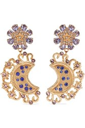 Dolce And Gabbana Gold Tone Crystal Clip Earrings One Size