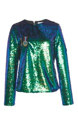 Mira Mikati Scout Patch Sequin Long Sleeve Top Green