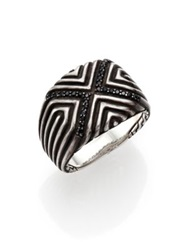 John Hardy Bedeg Sterling Silver And Black Sapphire Ring Dark Silver
