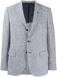 Massimo Piombo Mp Houndstooth Patterned Front Slit Blazer White