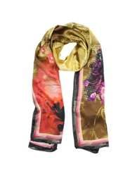 Laura Biagiotti Floral Print Silk Stole Pink Red