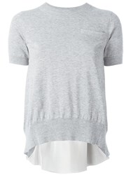 Sacai Knitted Cupro Insert Top Grey