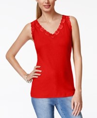 Karen Scott Petite Sleeveless Lace Trim Tank Top Only At Macy's New Red Amore