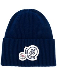 Moncler Patch Embellished Beanie Blue