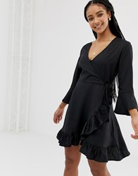 Influence Wrap Dress With Frill Detail Black