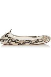 Yosi Samra Fold Up Snake Effect Leather Ballet Flats