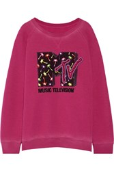 Marc Jacobs Appliqued Jersey Sweatshirt Magenta