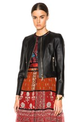 Burberry London Haylands Paneled Cropped Leather Jacket In Black
