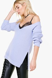 Boohoo V Neck Side Split Rib Knit Jumper Blue