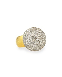 Gurhan 24K Gold Lentil Ice Diamond Cocktail Ring