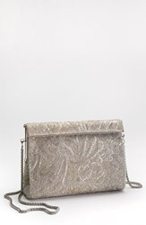 Nina Beaded Frame Clutch Metallic Silver Bead