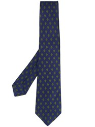 Kiton Diamond Pattern Tie Blue