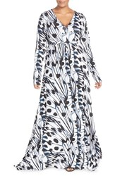 Plus Size Women's Melissa Mccarthy Seven7 Print V Neck Ruched Maxi Dress