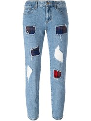 Steve J And Yoni P Ripped Cropped Jeans Blue