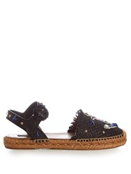 Dolce And Gabbana Anchor Applique Embellished Espadrilles Navy Multi