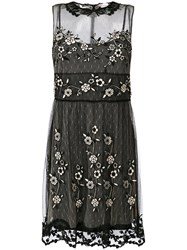 Red Valentino Embroidered Mesh Mini Dress Women Polyester 42 Black