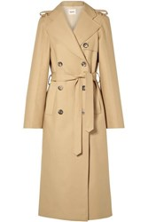 Khaite Felice Cotton Gabardine Trench Coat Sand