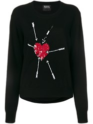 Markus Lupfer Sequin Heart And Arrow Sweater Merino Plastic Xs Black