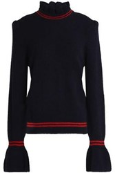 Sandro Ruffle Trimmed Knitted Sweater Navy