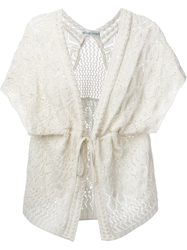 Tsumori Chisato Shortsleeved Tie Cardigan Nude And Neutrals
