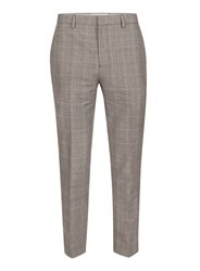 Topman Mid Grey Grey Check Linen Skinny Fit Suit Trousers