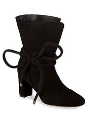 Saks Fifth Avenue Shoestring Suede Booties Black