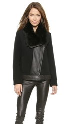 Helmut Lang Fur Collar Jacket Black