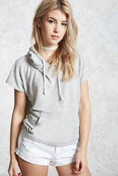 Forever 21 Brushed Knit Hoodie Heather Grey