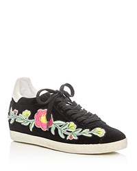 Ash Gull Embroidered Hidden Wedge Lace Up Sneakers Black Multi