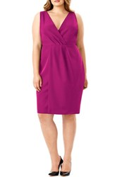 Mynt Plus Size Women's 1792 Faux Wrap Sleeveless Sheath Dress Fuchsia