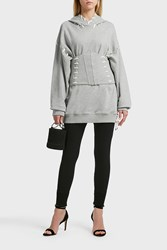 Jonathan Simkhai Whipstitched Cotton Jersey Hooded Sweatshirt Grey