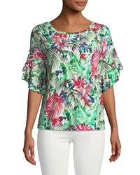 London Times Cascading Double Ruffle Floral Blouse Multi