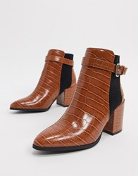 Miss Selfridge Heeled Boots With Buckle In Tan Croc