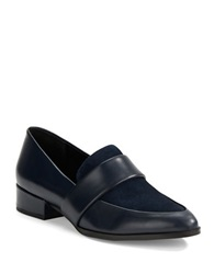 424 Fifth Valentina Leather Loafers Navy Blue