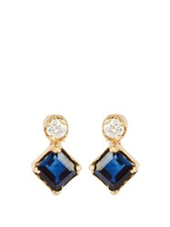 Loren Stewart Diamond Sapphire And Yellow Gold Earrings Blue