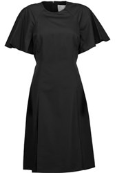 Jason Wu Pleated Point D'esprit Paneled Cotton Poplin Dress Black