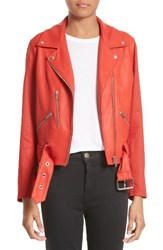 Veda Women's Cal Leather And Linen Moto Jacket