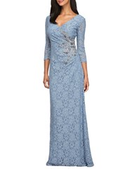 Alex Evenings Beaded Lace Gown Antique Blue