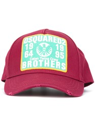 Dsquared2 Brothers Patch Baseball Cap Pink Purple