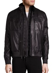 Michael Kors Racer Leather Bomber Jacket Black